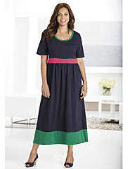 Colorblocked Knit Empire Dress