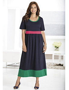 Colorblocked Knit Empire Dress by Ulla Popken