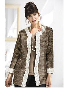 Lace-framed Tweed Jacket by Ulla Popken