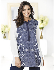 Paris Blues Placement Print Tunic by Ulla Popken
