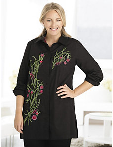 Wildflowers Embroidered Tunic by Ulla Popken