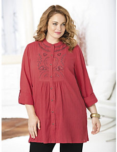 Sonora Embroidered Gauze Tunic by Ulla Popken