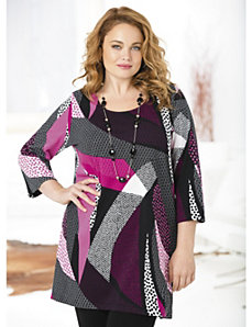 Dot Waves Knit Tunic by Ulla Popken