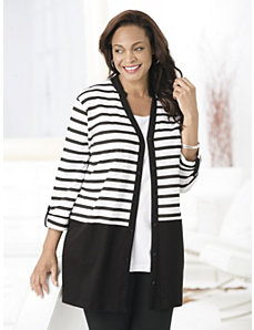 Stripe It Up Knit Jacket by Ulla Popken