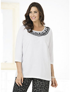 On the Border Knit Tee by Ulla Popken