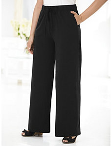 Wide-leg Drawstring Knit Pants by Ulla Popken