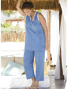 Dot's New Print Knit Pajamas by Ulla Popken