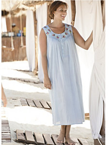 Breezy Embroidered Sleeveless Gown by Ulla Popken
