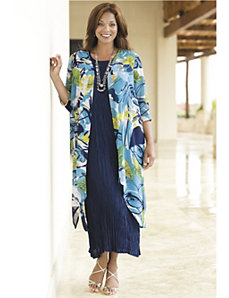 Tropic of Blue Crinkle Dress Set by Ulla Popken