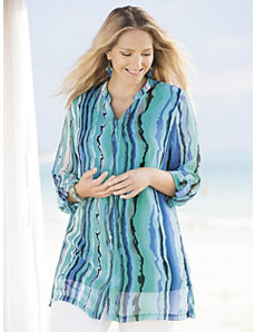 Sea Stripes Duster Set by Ulla Popken