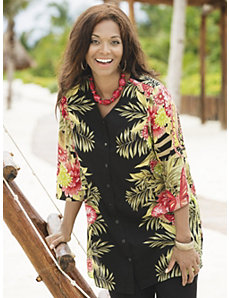 Tropical Delight Placement Print Tunic by Ulla Popken