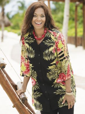 Tropical Delight Placement Print Tunic