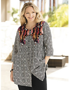 Floral Intrigue Placement Print Tunic by Ulla Popken