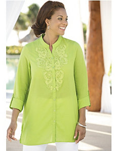 Savannah Crocheted Applique Tunic by Ulla Popken