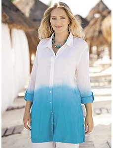 Cotton Gauze Dip Dye Tunic by Ulla Popken