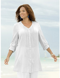 Oasis Pintucked Gauze Tunic by Ulla Popken