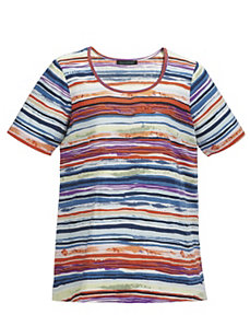 Sunset Stripes Knit Tee by Ulla Popken