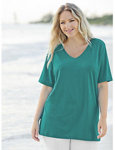 V-neck Cotton Knit Tee by Ulla Popken