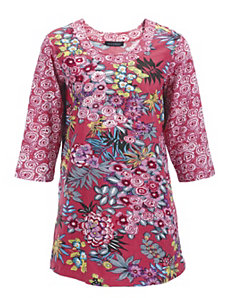 Floral Duo Print Knit Tunic by Ulla Popken