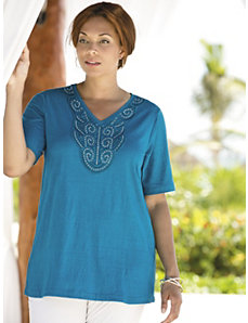Appliqued Adornments Knit Tee by Ulla Popken