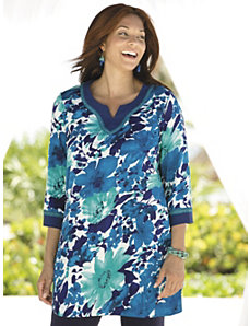 Beribboned Floral Knit Tunic by Ulla Popken