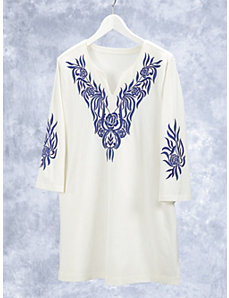 Blue Times Two Knit Embroidered Tunic by Ulla Popken