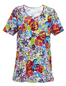 Island Delight Floral Knit Tunic by Ulla Popken
