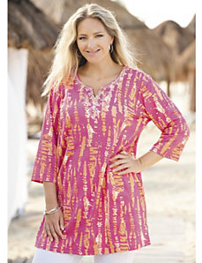 Eyeful of Ikat Embellished Knit Tunic by Ulla Popken