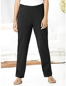 Smooth-fit Shorter-length Stretch Knit Pants by Ulla Popken