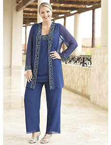 Blue Enchantment Georgette Pant Set by Ulla Popken