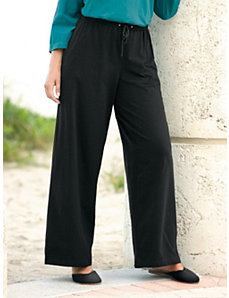 Stretch Knit Drawstring Pants by Ulla Popken