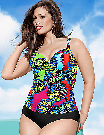 Leaf print swim tank with built in balconette bra