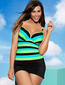 Striped Swim Tank with Built In Plunge Bra by Cacique
