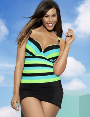 Striped swim tank with built in plunge bra