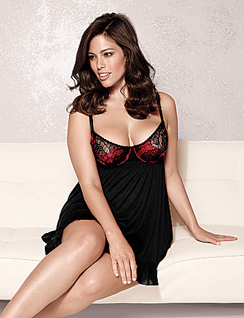 Full Figure Lace Cup Babydoll by Cacique