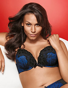 Beaded lace plunge bra by LANE BRYANT