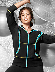 Mesh spliced hoodie by LANE BRYANT