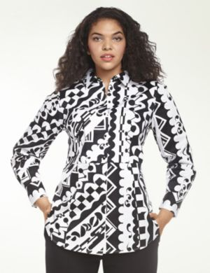 Geo print sateen shirt by Isabel Toledo