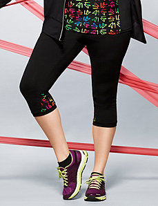 Active capri with LB printed waist