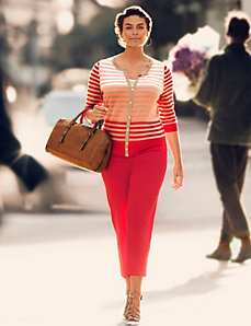 Striped Cardigan & Ankle Pant Outfit