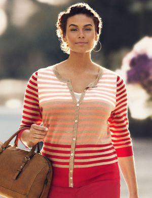 3/4 sleeve striped cardigan