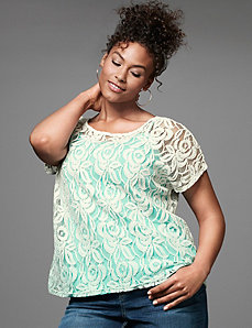 Dip dye lace tee by LANE BRYANT