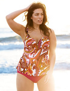 Scarf print swim tank with built-in plunge bra by LANE BRYANT