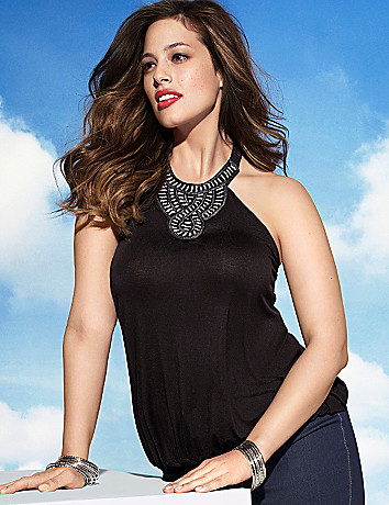 Plus Size Embellished Halter Top by Lane Bryant