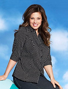 3/4 sleeve polka dot shirt