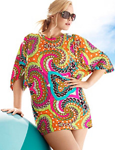 Medallion print swim cover up