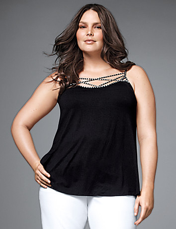 Plus size dressy beaded strappy tank