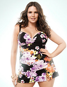 Floral V-wire swim tank with built-in balconette bra by LANE BRYANT