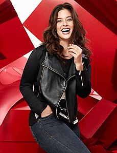 Faux leather & ponte jacket by LANE BRYANT
