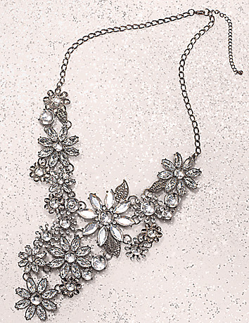 Rhinestone flower necklace by Lane Bryant